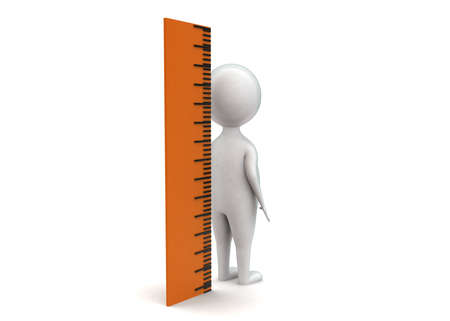 height: 3d man measuring height using scale concept in white isolated background - 3d rendering , side angle view