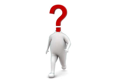headed: 3d question mark headed man walking concept in white isolated background - 3d rendering , front angle view