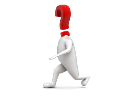 headed: 3d question mark headed man walking concept in white isolated background - 3d rendering , side angle view