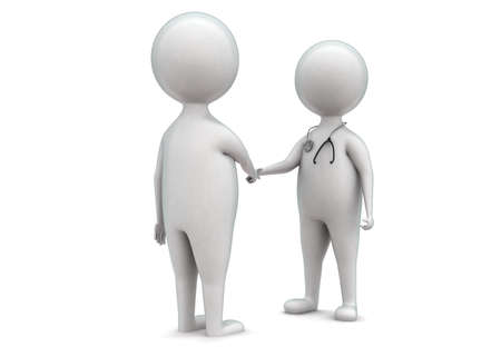 handing: 3d men shake handing a doctor concept in white isolated background - 3d rendering , front angle view