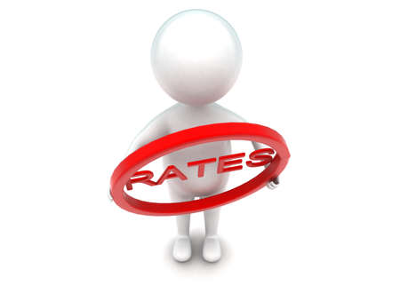 rates: 3d man holding circle with rates text inside it concept  in white isolated background - 3d rendering ,  top angle view