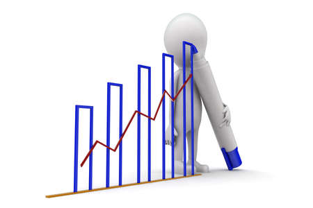 three dimensions: 3d man draw growth graph concept on white background, side angle view Stock Photo