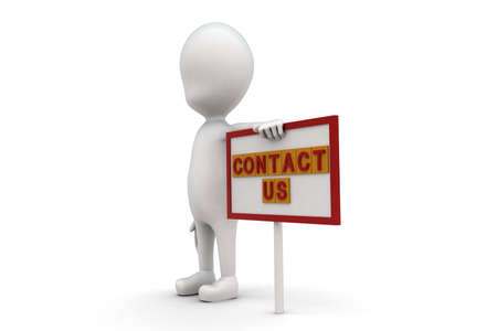 contact us sign: 3d man with contact us sign board concept on white background, side angle view Stock Photo