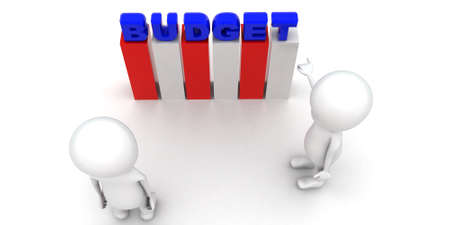 to discuss: 3d men discuss budget plan concept on white background,  top angle view Stock Photo