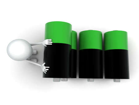 balck and white: 3d man with green and balck battery cells concept on white background, top angle view