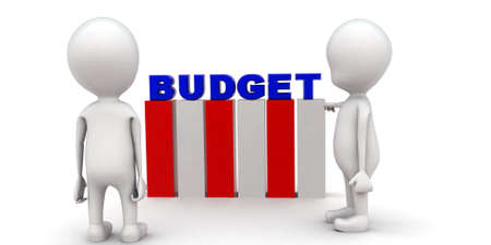 to discuss: 3d men discuss budget plan concept on white background, front angle view