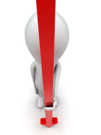 guy standing: 3d man holding long red arrow concept on white background, top angle view