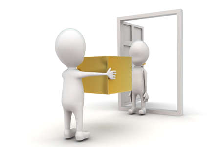 another: 3d man deliverying box at door to another man concept on white background, front angle view