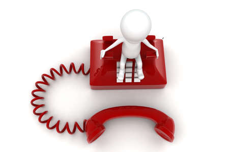 old telephone: 3d man sitting on red old telephone concept on white background, top angle view