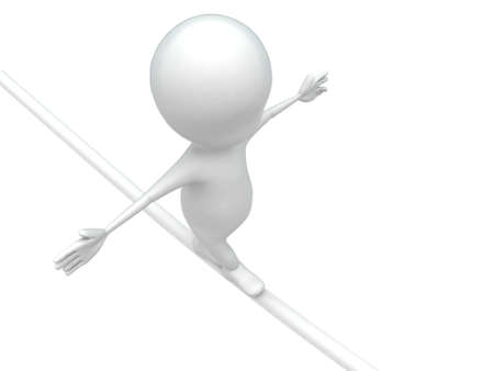 three dimensions: 3d man walking on rope and making balance concept on white background , top angle view