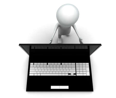 closing: 3d man pushing laptop screen and closing it concept on white background, top angle view Stock Photo