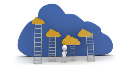 reach: 3d man with cloud and ladder to reach clouds concept on white background, front angle view