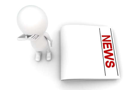 news paper: 3d man thinking and with news paper concept on white background - 3d rendering , top angle view