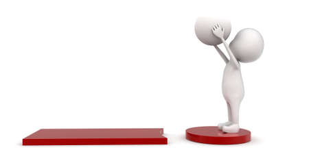 sphere standing: 3d man standing on exclamation mark with sphere in hand concept on white background - 3d rendering , side angle view Stock Photo