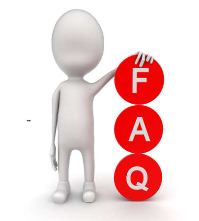 front angle: 3d man presenting FAQ circle concept on white background - 3d rendering , front angle view Stock Photo