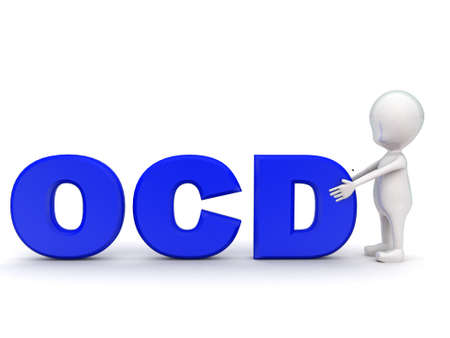 ocd: 3d man with  OCD text concept on white background - 3d rendering , front angle view Stock Photo