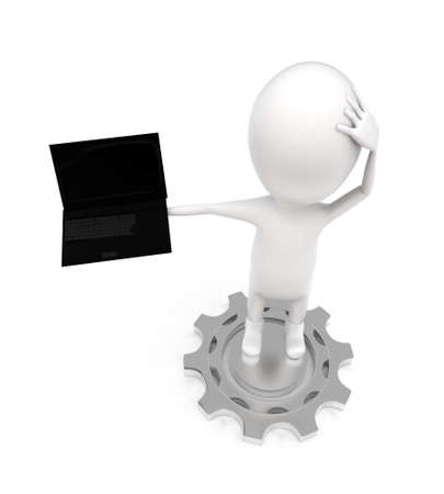guy standing: 3d man standing on mechanical gear cogwheel and with laptop concept on white background - 3d rendering ,  top angle view