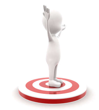 guy standing: 3d man standing on red target concept on white background - 3d rendering , side angle view Stock Photo