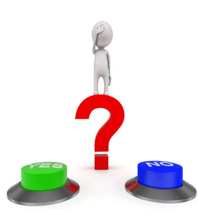 choose: 3d man standing on red question mark and confused to choose between yes or no button concept on white background - 3d rendering , front angle view