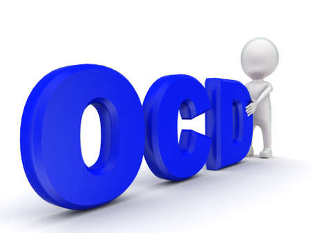 ocd: 3d man with  OCD text concept on white background - 3d rendering , side angle view