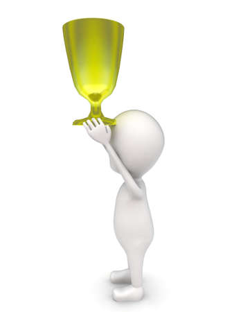 carry: 3d man carry up golden cup concept on white background - 3d rendering , side angle view Stock Photo