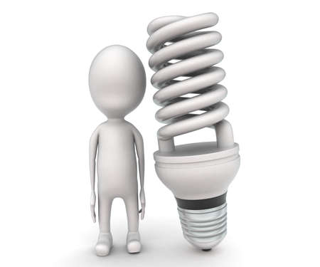 cfl: 3d man presenting CFL bulb concept on white background - 3d rendering , front angle view Stock Photo