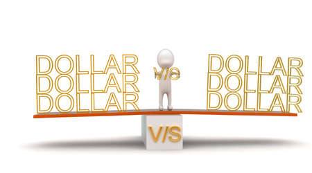see saw: 3d man presenting dollar vs dollar with  help of see saw concept in white isolated background , front angle view
