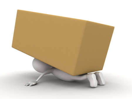 stuck: 3d man stuck under big brown box concept on white background - 3d rendering , top angle view