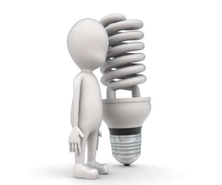 cfl: 3d man presenting CFL bulb concept on white background - 3d rendering , side angle view Stock Photo