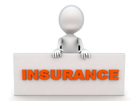 front angle: 3d man presenting insurance board concept on white background - 3d rendering , front angle view Stock Photo