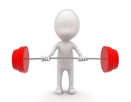 heavy weight: 3d man lifting red heavy weight dumbell concept on white background - 3d rendering , front angle view