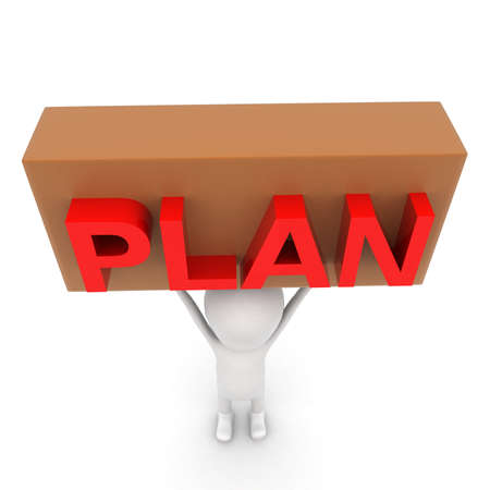 hand lifted: 3d man lifted up plan sign board in hand concept on white background - 3d rendering , top angle view