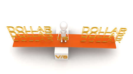 see saw: 3d man presenting dollar vs dollar with  help of see saw concept in white isolated background , top angle view