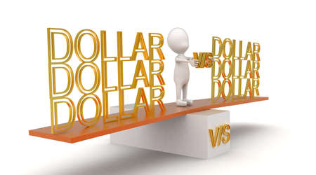 see saw: 3d man presenting dollar vs dollar with  help of see saw concept in white isolated background , side angle view