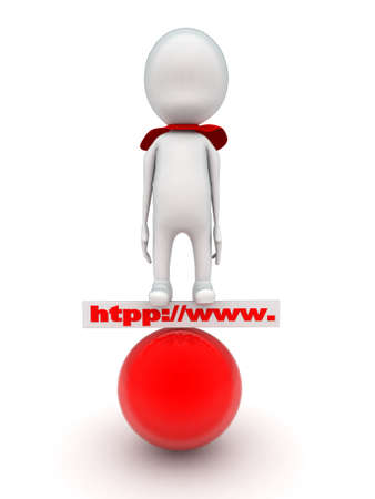super man: 3d man super hero stand on http www board and red sphere concept on white background - 3d rendering , front angle view Stock Photo