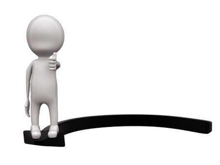 guy standing: 3d man standing on a circular arrow concept on white isolated background - 3d rendering , front  angle view