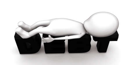 lying: 3d man lying over debt text concept on white isolated background - 3d rendering , top angle view