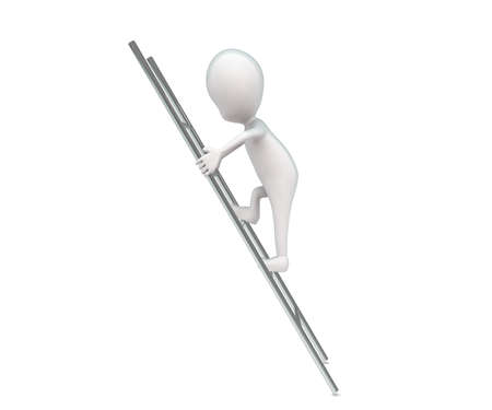 climbing up: 3d man climbing up a ladder concept in white isolated background , side  angle  view Stock Photo