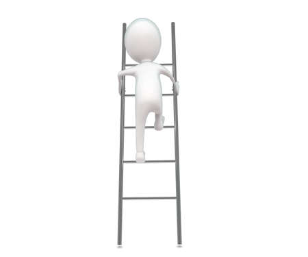 climbing up: 3d man climbing up a ladder concept in white isolated background , front angle  view