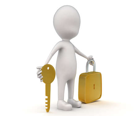 lock and key: 3d man with  golden key and lock concept on white background - 3d rendering, side angle view Stock Photo