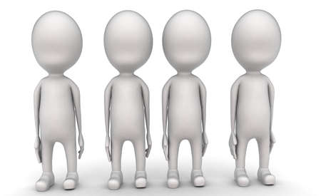 guy standing: 3d group of men standing concept in white isolated background - 3d rendering , front angle view
