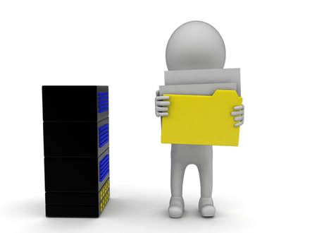 server side: 3d man holding folder near  server concept on white background - 3d rendering , left side angle view Stock Photo