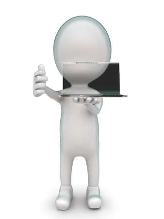 front angle: 3d man holding a transparent laptop concept in white isolated background - 3d rendering ,  front  angle view Stock Photo
