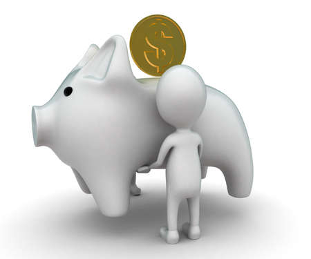 carrying: 3d man carrying big white piggy bank concept on white background - 3d rendering , side angle view Stock Photo