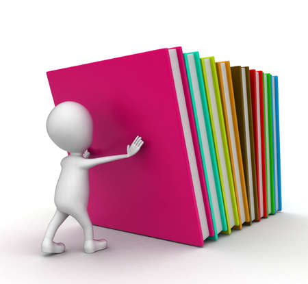 supporting: 3d man supporting falling books concept on white background - 3d rendering , right side angle view