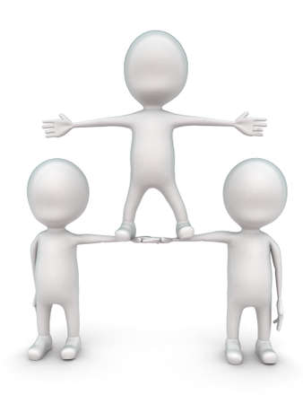 altitude: 3d men supporting another men to stand in higher altitude concept in white isolated background - 3d rendering ,  front angle view Stock Photo