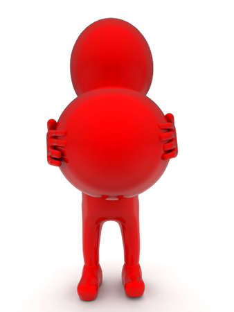 3d ball: 3d man holding red ball in hand concept in white isolated background - 3d rendering , front  angle view