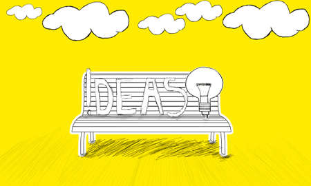 enviroment: isolated  bench concept - with idea stylized usb and ideas text  on bench