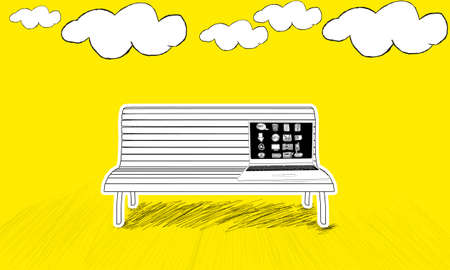 placed: isolated laptop with different icons on screen  placed  on bench concept