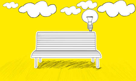 plugged: isolated  bench concept - with idea stylized usb plugged into  bench